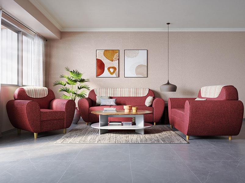 Buy Petal 2 Seater Fabric Sofa In Red Godrej Interio Wooden sofa set cushion price. inr