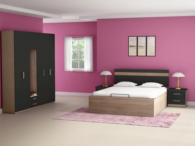 Buy Zen Queen Size Bed Hydraulic Storage In Grey Godrej Interio