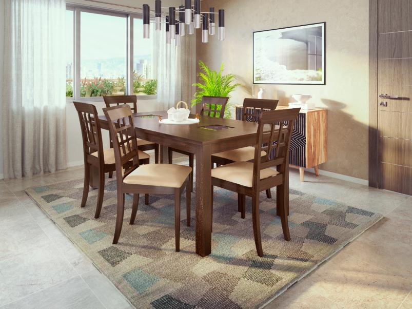 buy leo 6 seater dining table in mahagony  godrej interio