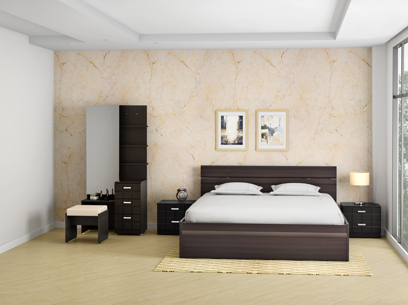 Chocolate Premium Bed Side Table In, Queen Bed And Bedside Tables
