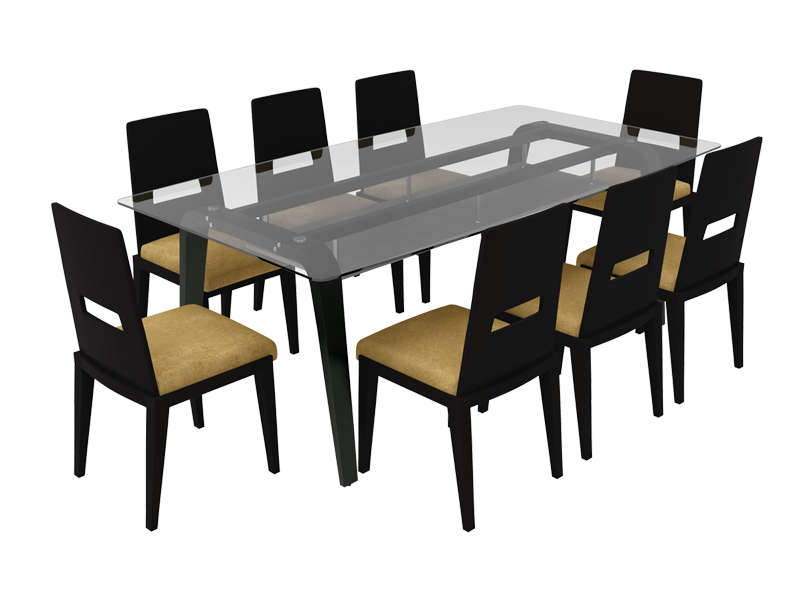 Buy Crescent 8 Seater Dining Table Set In Dark Chocolate Godrej Interio