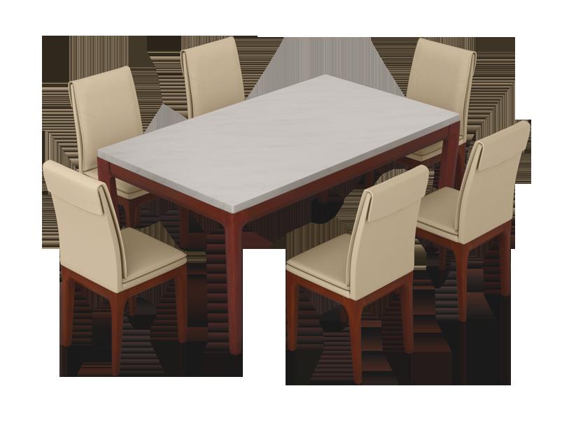 Buy Terrene 6 Seater Dining Table Set In Beige Godrej Interio