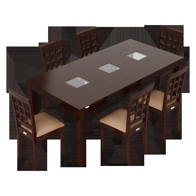 Buy Leo 6 Seater Dining Table Set In Mahogany Godrej Interio
