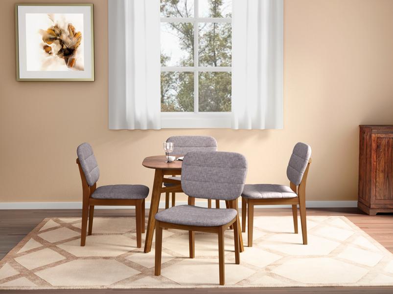 Buy Orbital 4 Seater Dining Table Set In Walnut Godrej Interio